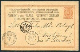 1881 Finland Stationery Postcard. Abo, St Petersburg, Norrkoping Sweden. PKXP Railway TPO - Briefe U. Dokumente