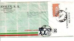 MEXIQUE AFFRANCHISSEMENT COMPOSE SUR LETTRE POUR LA FRANCE 1980 - Mexique