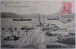 VIGO - MUELLE Y ESTATUA DE ELDUAYEN - CPA 1908 - Pontevedra