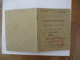 REPUBLIQUE FRANCAISE CARNET INDIVIDUEL SOLDE SPECIALE Mle C.T.238-3-F.F.A.423e REGIMENT D'ARTILLERIE ANTIAERIENNE 1960 - Historische Dokumente