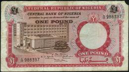 NIGERIA - 1 Pound Nd.(1967) {4 Signatures} VG P.8 - Nigeria