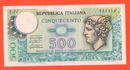 500 Lire Mercurio Mercury 1976 Repubblica Italiana Intra Ventura Signoretti - [ 2] 1946-… : Républic