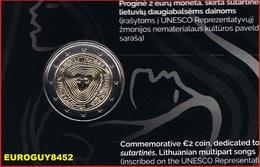 LITOUWEN - COINCARD 2 € COM. 2019 BU - LITOUWSE VOLKSLIEDEREN - Lituanie