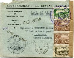 GUYANE LETTRE PAR AVION CENSUREE DEPART CAYENNE 8-12-40 GUYANE FRANCAISE POUR LA FRANCE - Guyane Française (1886-1949)