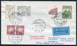 1976 Faroe Islands / Denmark / Greenland Luftpost Flight Cover. Copenhagen - Thorshavn - SDR Stromfjord. Slania - Faroe Islands