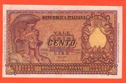 100 Lire Italia Elmata 1951 Repubblica Italiana Bolaffi Cavallaro Giovinco - 100 Lire