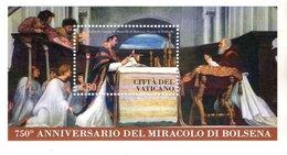 CITTA' DEL VATICANO - 2013 - FOGLIETTO FRANCOBOLLI - MIRACOLO DI BOLSENA 750° ANNIVERSARIO - Nuovi