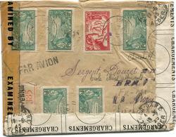GUYANE LETTRE RECOMMANDEE PAR AVION CENSUREE DEPART CAYENNE 11-4-45 REPAREE A L'ARRIVEE A  ALGER-GARE LE 10-5-45 ALGER - Guyane Française (1886-1949)