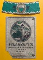11165 - Villeneuve Hospices Cantonaux 1943 Vase 4 Suisse Manque 1 Coin - Etiquetas