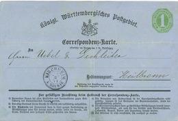 Kirchheim Neckar Karte Nach Heilbronn Stpl: Besigheim - 1 Kreuzer 8eckig Doppelkreisstempel Mit Kreis 1874 - Wurttemberg