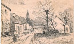RHODE ST GENèSE  Le Village   Dessin à La Plume. - Rhode-St-Genèse - St-Genesius-Rode