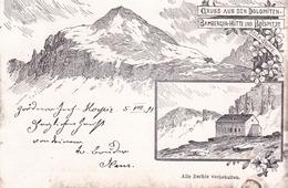 R - Dolomiten, Gruss Aus ....Sella Gruppe  -  Bamberger-Hutte Und Boespitze  -  Litografia - Altre Città