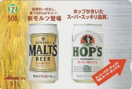 Carte Prépayée Japon Quo 7/11 - Boisson Alcool SUNTORY - BIERE - MALT BEER  Japan Prepaid Card - BIER  CERVEZA  - 827 - Publicité