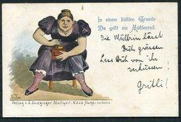 1902 Switzerland Verlag V. Junginger Stuttgart Comic Postcard. Zurich - Uznach - Storia Postale