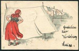1902 Switzerland  Washer Woman Lady Comic Postcard. Zurich - Uznach - Storia Postale