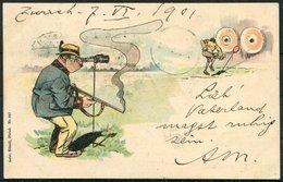 1901 Switzerland Gebr. Kunzli Hunter Comic Postcard. Zurich - Uznach - Storia Postale