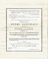 MEULEBEKE - Doodsbrief Henri GOETHALS - Brouwer En Burgemeester (x M-A VANDEROUGSTRAETE) +1959 - Overlijden
