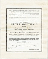 MEULEBEKE - Doodsbrief Henri GOETHALS - Brouwer En Burgemeester (x M-A VANDEROUGSTRAETE) +1959 - Obituary Notices