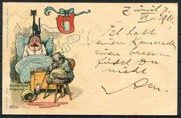 1901 Switzerland Gebr. Kunzli Cat Monkey Beer Comic Postcard. Zurich - Uznach - Storia Postale