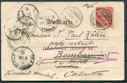1901 JW Heeg, Bonn, Kite Stamp Letter Comic Postcard. Zurich - India. Bombay Calcutta Redirected Sea Post Office - Briefe U. Dokumente