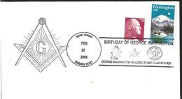 J) 2008 UNITED STATES, BIRTHDAY OF GEORGE WASHINGTON MASONIC STAM CLUB STATION, MOUNTAIN, MULTIPLE STAMPS, FDC - United States