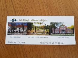Lithuania Litauen Ticket Moletai Land Museum 2019 - Tickets - Vouchers