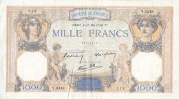 Billet 1000 F Cérès Et Mercure Du 27 Mai 1938 FAY 38.16 Alph. Y.3343 - 1 000 F 1927-1940 ''Cérès Et Mercure''