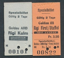 SWITZERLAND QY4888 Goldau ARB Rigi Kulm Rigi First 2 Fahrkarte Billet Ticket Suisse - Europe