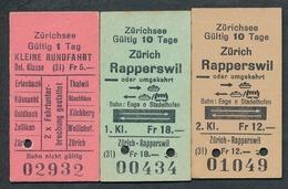 SWITZERLAND QY4889 Zürichsee Bahn Enge O Stadelhofen 3 Fahrkarte Billet Ticket Suisse - Bahn
