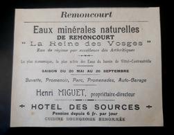 REMONCOURT 88 HOTEL DES SOURCES HENRI MIGUET EAUX MINERALES REINE DES VOSGES PUBLICITE 1900 BUVETTE PROMENOIR AUTO EAU - Advertising