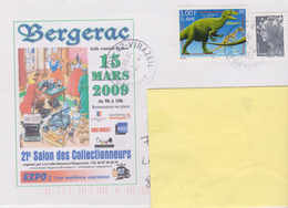 FRANCE, Enveloppe Illustrée Salon Cartophile Bergerac 2009, Timbre Dinosaure, 2009 - Unclassified