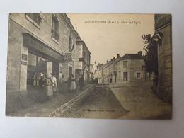 """C. P. A. : 37 CONTINVOIR : Place De L'Eglise, """"Epicerie, Tabac, Moto Naphta"""", Animé, Timbre En 1926 - Andere Gemeenten"""