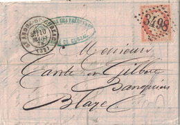 GIRONDE - ST ANDRE DE CUBZAC - T17 - CERES DU SIEGE N°38 - OBLITERATION GC3498 - LETTRE AVEC TEXTE ENTETE ET SIGNATURE - 1849-1876: Classic Period