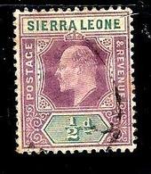 SIERRA LEONE 62° 1/2p Violet-brun Et Vert Edouard VII (10% De La Cote + 0,15) - Sierra Leone (...-1960)