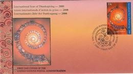 LOT 3 ENVELOPPES PREMIER JOUR - NATIONS UNIES - UNITED NATIONS - ANNEE D'ACTION DE GRACE - YEAR OF THANKSGIVING - FDC - Postales