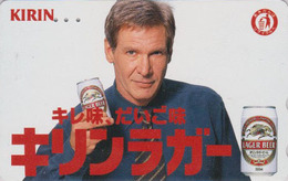 RARE TC Japon / 110-011 - Alcool - BIERE KIRIN & Star Cinema HARRISON FORD - BEER & Movie Star Japan Phonecard - 834 - Publicité
