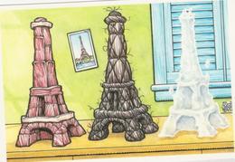 CP -  TOUR EIFFEL (illustrateur Rick Geary USA) - Carte QSL