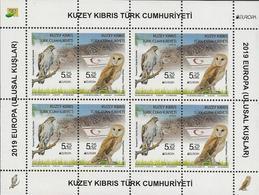 """CHIPRE TURCO /TURKISH CYPRUS /TÜRKISCH ZYPERN  -EUROPA 2019 -NATIONAL BIRDS.-""""AVES-BIRDS-VÖGEL-OISEAUX""""-HOJA BLOQUE-4 - 2019"""