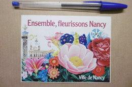 """Autocollants - Ville De NANCY """"Ensemble Fleurissons NANCY"""" Fleurs Roses Pivoines Lys - Autocollants"""