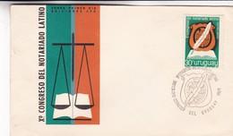 1969 URUGUAY FDC- X°CONGRESO DEL NOTARIADO LATINO- BLEUP - Uruguay