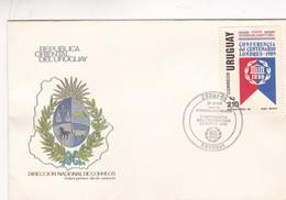1989 URUGUAY FDC COVER- UNION INTERPARLAMENTARIA, CONFERENCIA CENTENARIO LONDRES- BLEUP - Uruguay