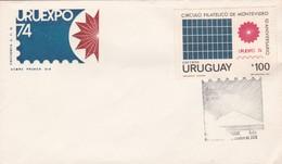 1974 URUGUAY FDC COVER- URTUEXPO, 10 ANIVERSARIO CIRCULO ILATELICO MONTEVIDEO- BLEUP - Uruguay
