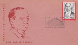 1966 URUGUAY FDC CARD- ESTADISTAS URUGUAYOS. LUIS BATLLE BERRTES- BLEUP - Uruguay