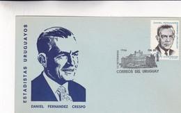 1966 URUGUAY FDC CARD- ESTADISTAS URUGUAYOS. DANIEL FERNANDEZ CRESPO- BLEUP - Uruguay