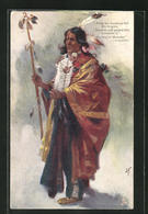 Künstler-AK J. F.: The Song Of Hiawatha - Longfellow, From His Forehead Fell His Tresses, ... First Nation - Indianer