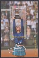 ROMANIA   2018 - TENNIS   SIMONA HALEP - Winning To Roland Garros Trophy (France) - Miniature Sheet  MNH** - Tennis