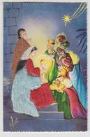 CC 022 / CPM  Double  Fantaisie Brodée NOEL Crèche Etable Marie Jésus , Rois Mages . - Embroidered