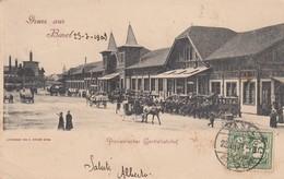 SWITZERLAND-SCHWEIZ-SUISSE-SVIZZERA-BASEL-GRUSS AUS-PROVISORISCHER CENTRALBAHONHOF-VIAGGIATA IL 23-7-1903 - BS Basle-Town