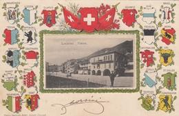 SWITZERLAND-SCHWEIZ-SUISSE-SVIZZERA-LOCARNO-LA PIAZZA-CARTOLINA IN RILIEVO  VIAGGIATA IL 14-10-1906 - TI Ticino