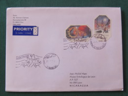 Finland 2016 Cover To Nicaragua - Christmas - Different Shape Stamps - Reindeer Cancel - Finnland